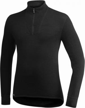 WoolPower Unterhemd Polo Unisex langarm - schwarz / S